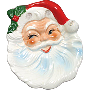 Christmas Santa Claus Face 1960s Ceramic Candy Dish Spoon Rest