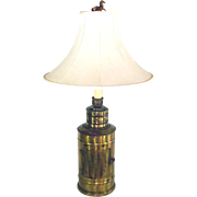 Brass Nautical Lantern 1950s Table Lamp