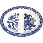Churchill Blue Willow Divided Vegetable Serving Bowl