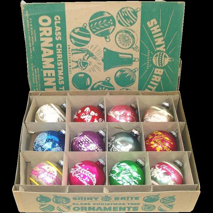 Box Shiny Brite Stencil Scene Christmas Ornaments