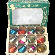 Box Small Shiny Brite 1950s Glass Bell Christmas Ornaments