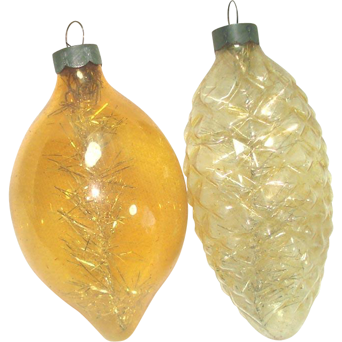 Gold Unsilvered Glass Christmas War Ornaments With Tinsel