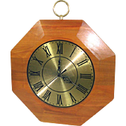 Mid Century United Wood Brass Octagonal Wall Clock