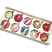 Box Poland Decorated Teardrop Glass Christmas Ornaments