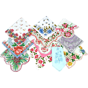 Lot 11 Vintage Ladies Floral Hankies