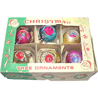 Box 1950s Poland Balloon Indent Glass Christmas Ornaments