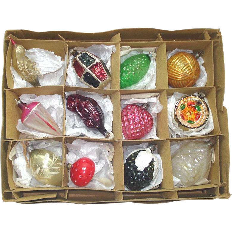 Box 12 Antique Germany Shapes Christmas Ornaments