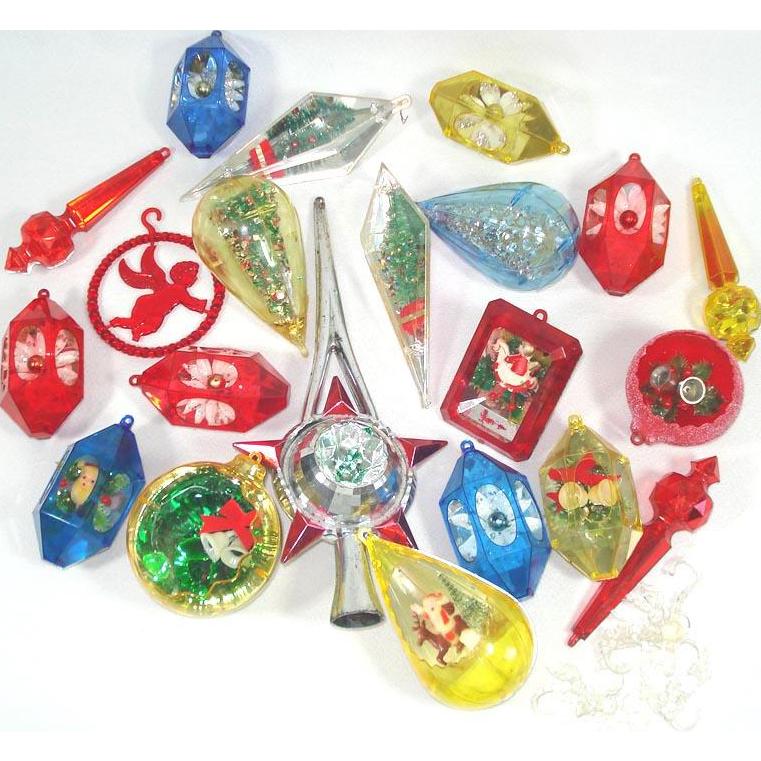 Lot Jewel Brite Bradford Plastic Christmas Ornaments