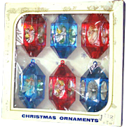 Box Jewel Brite 3D Plastic Angel Scene Christmas Ornaments