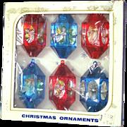 Box Jewel Brite 3D Plastic Angel Scene Christmas Ornaments