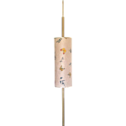 Mid Century Tension Pole Lamp Fiberglass Butterflies Shade