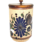 Mexican Tonala Pottery Enameled Stoneware Condiment Jar