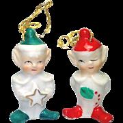 Ceramic Elf Pair 1950s Christmas Bell Ornaments