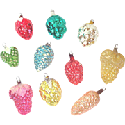 Berries, Grapes, Fruit Vintage Glass Christmas Ornaments