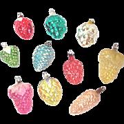 Berries, Grapes, Fruit Vintage Glass Christmas Ornaments
