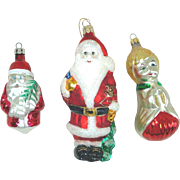 Choir Boy and Santa Claus Glass Christmas Ornaments