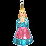 Praying Angel in Hoop Skirt Figural Glass Christmas Ornament