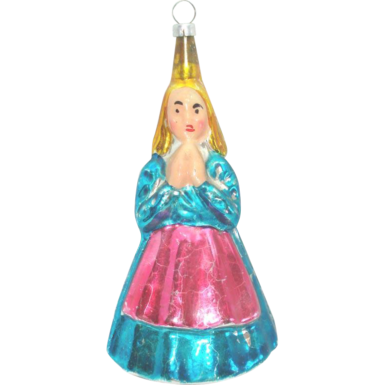Praying Angel in Hoop Skirt Figural Glass Christmas Ornament