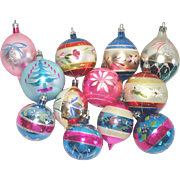 12 Mid Century Poland Hand Painted Christmas Ornaments