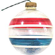 Patriotic Stripes Unsilvered Glass War Christmas Ornament Paper Cap