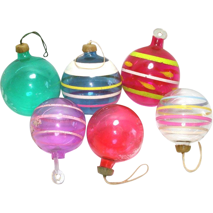 World War II Unsilvered Glass Christmas Ornaments with Paper Caps