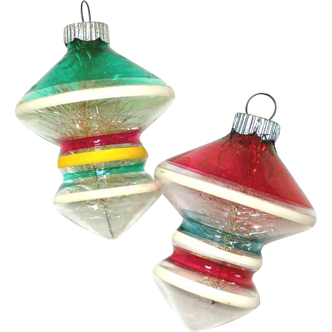 Shiny Brite Unsilvered UFO Glass War Ornaments