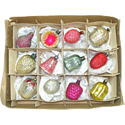 Box Antique German Feather Tree Glass Christmas Ornaments