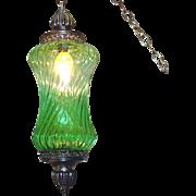 Mid Century Hanging Swag Lamp Green Hourglass Globe