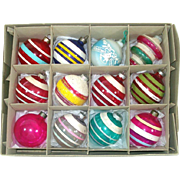 Box World War II Unsilvered Glass Christmas Ornaments