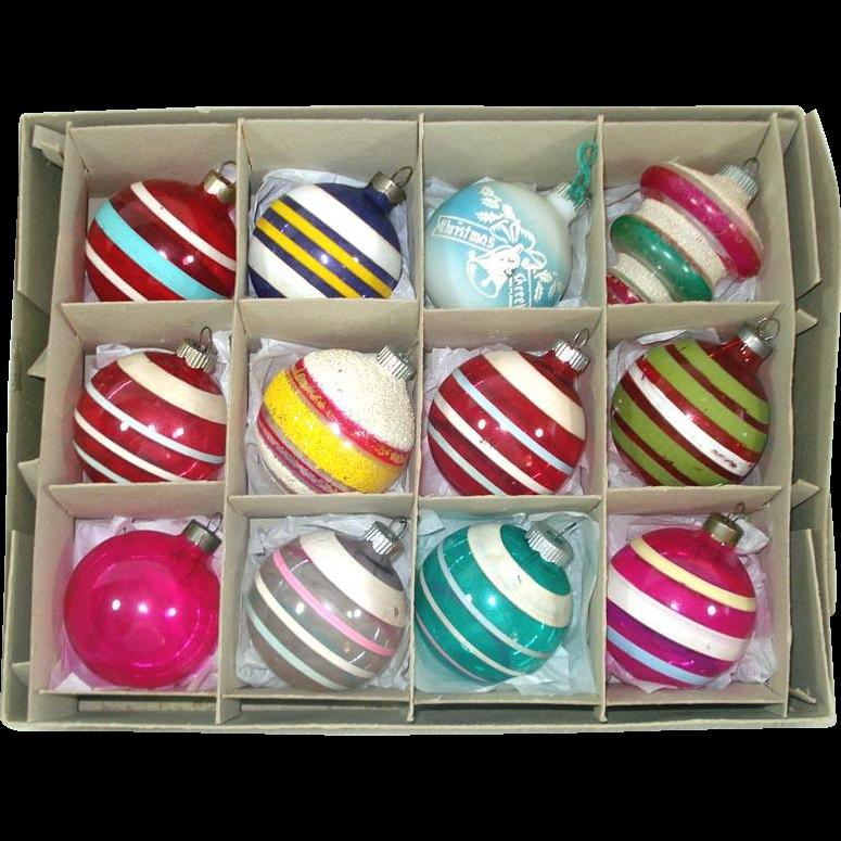 Box World War II Unsilvered Glass Christmas Ornaments