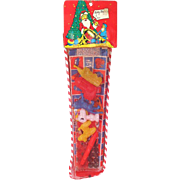 1960s Mesh Christmas Stocking Filled With Toys Sealed