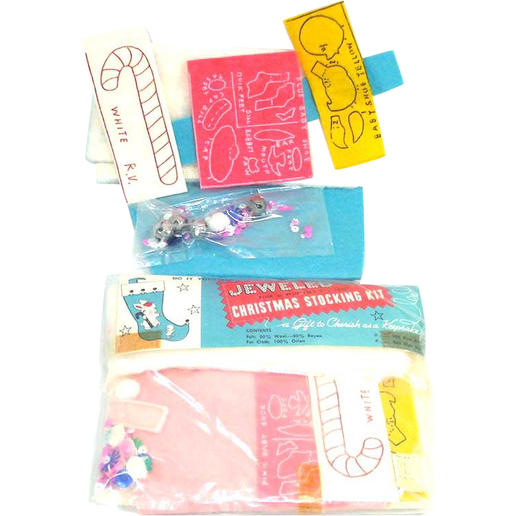 Edna Looney Jeweled Christmas Stocking Kits Pink Blue Bunnies