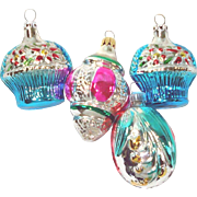 4 Small Basket, Flower Theme Glass Christmas Ornaments