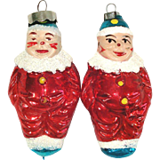 Pair Flesh Face Clowns 1950s Glass Christmas Ornaments