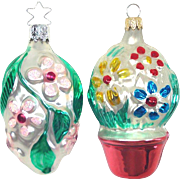 Pair Silvered Glass Embossed Flower Christmas Ornaments
