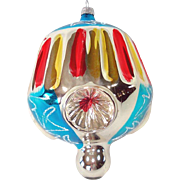 Jumbo West Germany Triple Indent Ribbed Glass Christmas Ornament