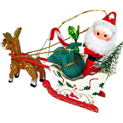 Santa Sleigh Rudolph Wooden Christmas Ornament