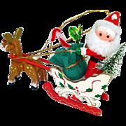 Santa Sleigh Rudolph Wooden Christmas Ornament