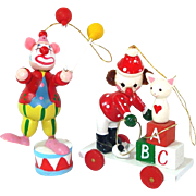1970s Circus Clowns Painted Wood Christmas Ornaments