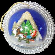 Plastic Bubble Diorama Santa Scene 1960s Christmas Ornament