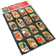 1960s Package 3D Decorated Christmas Gift Card Tags