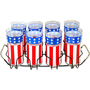 Libbey Set Patriotic Stars and Stripes Glass Tumblers in Caddy