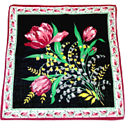 Parrot Tulips on Black Vintage Ladies Hankie