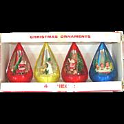 Box Jewel Brite Teardrop Scene Plastic Christmas Ornaments