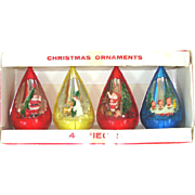 Box Jewel Brite Teardrop Scene Plastic Christmas Ornaments