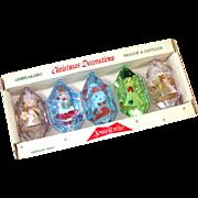 Box Jewel Brite 3D Plastic Christmas Ornaments Figures Inside