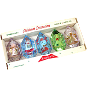 Box Jewel Brite 3D Plastic Christmas Ornaments Figures Inside