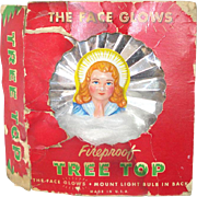 1940s National Tinsel Angel Tree Topper with Angel Hair