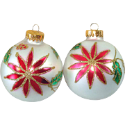 Glass Poinsettia Glitter Christmas Ornaments Set of 10