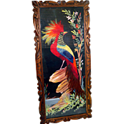 Large Exotic Bird Mexican Folk Feather Art Picture 31 Inches Long
